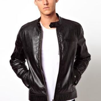 ASOS Faux Leather Biker Jacket - Black