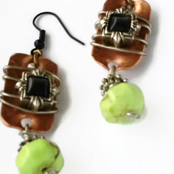 Copper Earrings Bohemian Rustic Metalwork Oxidized Copper Lime Green Black Wire Wrapped Mixed Metal Rustic Copper Wire Wrap Handmade