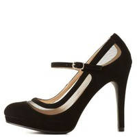 Qupid Mesh Cut-Out Mary Jane Pumps by Charlotte Russe - Black