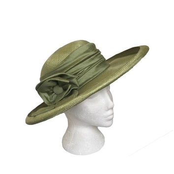 Green Vintage Hat - Green Straw Hat - Wide Brim Hat - Made in Italy - Wedding | Garden Party | Races | Formal Occasion Hat UK - 1980's Hat