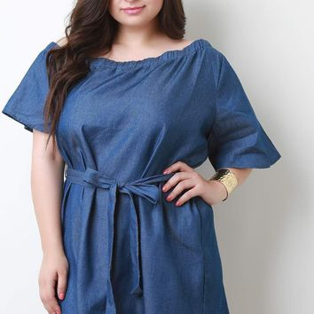 Chambray One Shoulder Waist Tie Shift Dress