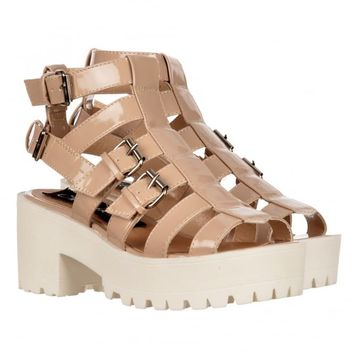 Onlineshoe Cut Out Gladiator Platform Summer Sandals - Strappy Buckles - Nude, White - WOMENS from Onlineshoe UK