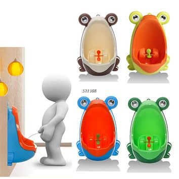 Cute Animal Boy's Portable Potty Urinal Standing Toilet Frog Shape Vertical Wall-Mounted Pee Boy Bathroom Urinal Closet