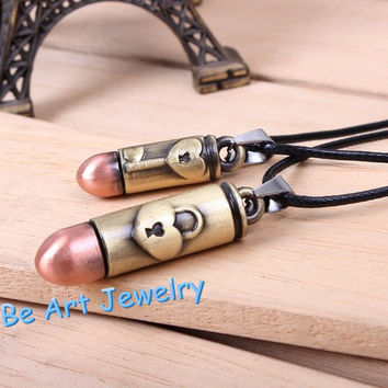 Couples Necklace,Lovers Necklace ,Lock and Key Necklace,Leather Necklace ,Bullet Necklace ,Anniversary gifts,His and Her Necklace, 2 Set