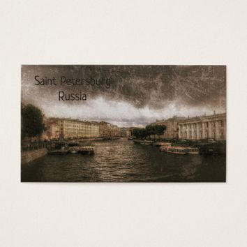 View to Fontanka River. St. Petersburg, Russia. Business Card