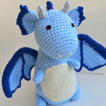 Dragon Amigurumi Plush Blue Crochet
