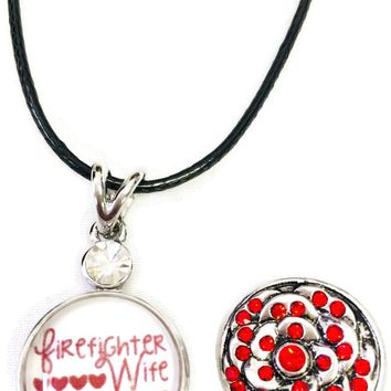 """Firefighter Wife Strength Behind Boots Thin Red Line Snap on 18"""" Leather Rope Diamond Pendant Necklace W/ Extra 18MM - 20MM Snap Charm"""