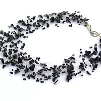 Black Necklace. Beadwork. Multistrand Necklace.