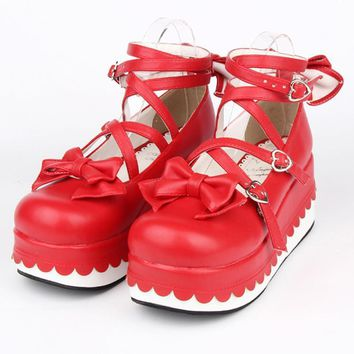 Female spring anime cosplay Princess lolita shoes women Wedges gladiator Sandals high