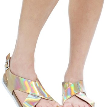 GOLD CRISS CROSS SANDAL