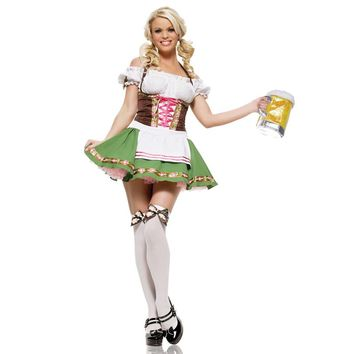 At A Loss Womens Traditional German Bavarian Beer Girl Costume Sexy Oktoberfest Festival Carnival Party Fancy Dress