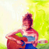 Guitarist 8x10 Watercolor Portrait Painting