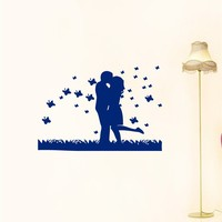 CUTE WALL VINYL STICKER  DECALS ART MURAL KISSING COUPLE IN LOVE ROMANTIC  A1267