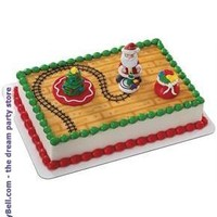 Santa with Train Cake Topper - Red for Christmas