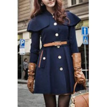 Stylish Stand Collar Long Sleeve Belted Cape Coat For Women