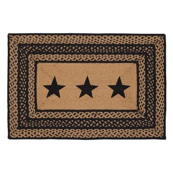 Farmhouse Jute - Stencil Stars - Braided Rectangle - Country Black & Tan - 24 x36 - Rug