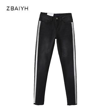 ZBAIYH Jeans Woman Summer Fashion Ripped Black High Waist Boyfriend Jeans For Women Side Print Stripe Skinny Pencil Denim Pants