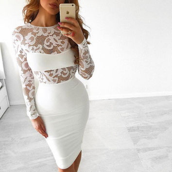 Summer Lace Sexy Long Sleeve Round-neck One Piece Dress