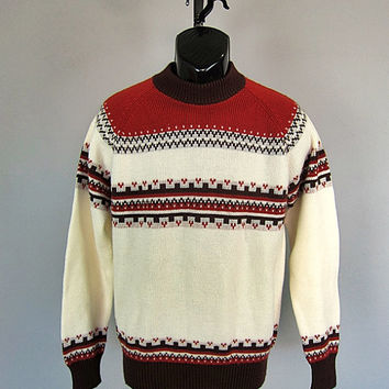 Vintage 70s Ski Party Skate Sweater 1970s New Wave Emo Grunge Kingsport men's L acrylic knit