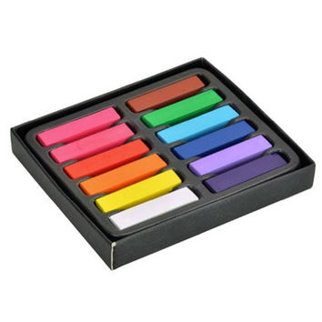 ELENKER™ Small Size Non-toxic Temporary Salon Kit Pastel Square Hair Chalk Set (12 Colors)