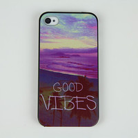 "Personalized iphone 4 4s 5 5s 5c ""good vibes"" studded hard case cover skin, iphone 4s otterbox iphone 5 phone cover, iphone 5c case iphone 4"