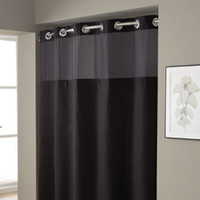 Hookless® Waffle Black Fabric Shower Curtain and Liner Set