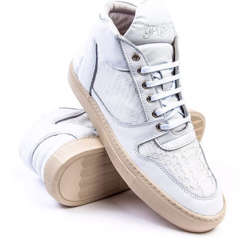 Filling Pieces Mid Top Transformed White Python Sneaker