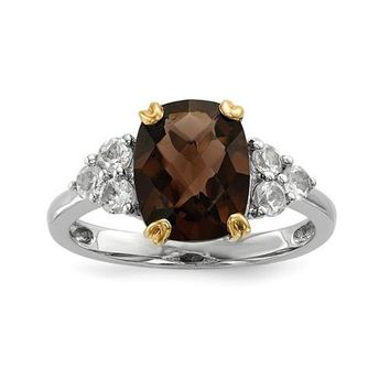 Sterling Silver And 14k Gold Smoky Quartz And White Topaz Ring