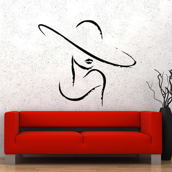 Wall Vinyl Sticker Decal Sexy Girl Fashion Woman Hat Shopping Beauty (ed477)