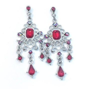 Classic Red Crystal Chandelier Earrings
