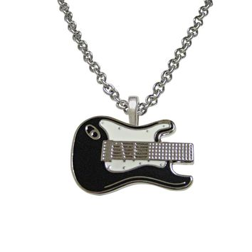 Black and White Toned Guitar Pendant Necklace
