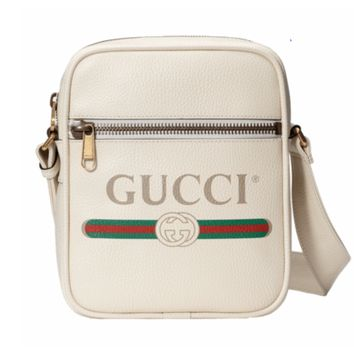 GUCCI Tide brand leather retro logo men and women shoulder shoulder Messenger bag white