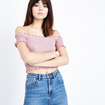 Pink Shirred Bardot Neck Crop Top | New Look