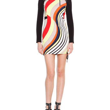 Long-Sleeve Colorblock Mini Dress, Size: 40 IT (4 US), BEIGE CORALLO - Emilio Pucci