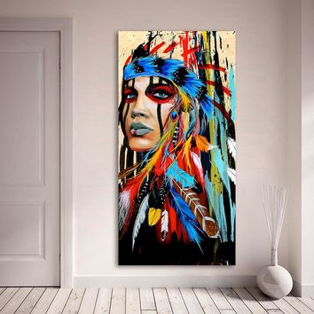 AAGG Oil Painting Wall Art Beauty Native American Indian Girl Feather Woman Portrait  Wall Pictures For Living Room No Frame