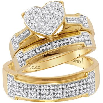 10k Yellow Gold His & Her Diamond Heart Cluster Matching Bridal Wedding Ring Set