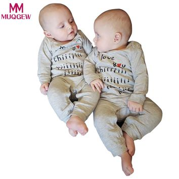 "Baby clothes Newborn Baby Boys Girls Gray Romper Playsuit Jumpsuit Hat 2pcs Outfits Clothes Set winter rompers ""i love you"" cute"