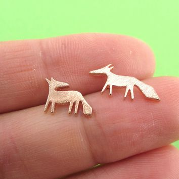 Running Red Fox Silhouette Shaped Stud Earrings in Rose Gold