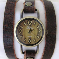 Stylish Lady Bronze Wrist Watch With A Unique Soft Leather Band  FREE SHIPPING