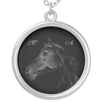 Abstract Psychedelic White And Black Horse Round Pendant Necklace
