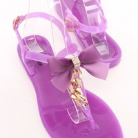Purple Bow Front Chain Jelly Sandals Rubber