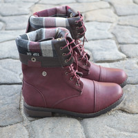 Burgundy Fold-Over Boots