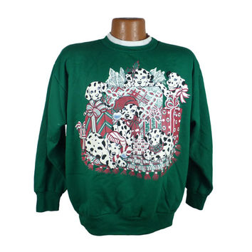 Ugly Christmas Sweater Vintage Sweatshirt Scene Dalmations Party Xmas Tacky Holiday