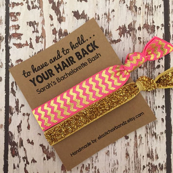 Chevron/Gold Glitter - To Have and To Hold Bachelorette Party Favors - Hair Tie Favor - Choose your color
