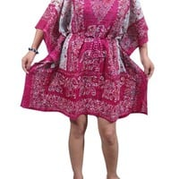 Women's Kaftans Caftan Tunic Elephants Row Pink V-neck beach dress
