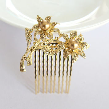 Gold Bridal Comb/Wedding Floral Hair Comb/Rhinestones Crystal Comb Clip/Bride Hairpiece/Bridesmaid Hair Comb Jewelry/Bridal Accessories