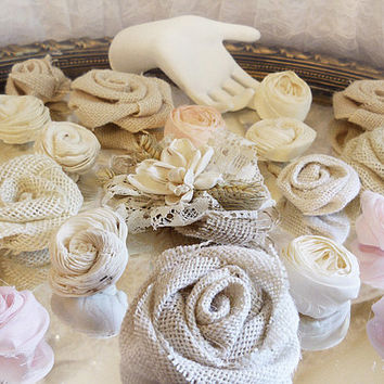 Bulk SALE, Lot of 25 Burlap, Fabric & Sola Wood Flowers, pink and ivory, for diy bouquets, cake toppers, wedding flowers. Ready to Ship!