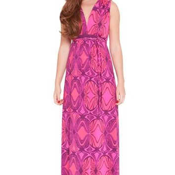 Women's Olian 'Suzy' Print Maternity Maxi Dress,