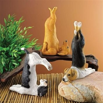 SheilaShrubs.com: The Zen of Canine Yoga Dog Statues (Set of 3) QM923004 by Design Toscano: Garden Sculptures & Statues