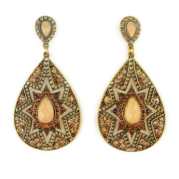 2016 New Ethnic Jewelry Antique Gold Plated Multi Color Full Rhinestone Filled Large Water Drop Crystal Boho Dangle Earrings